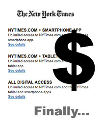 NY Times Digital Subs Are Here