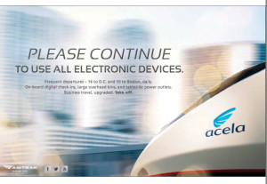 Acela Please Continue To Use All Electronic Devices