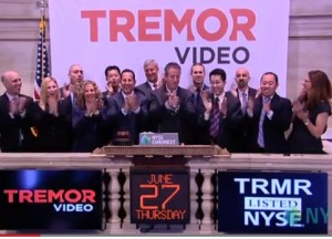 Tremor CEO Bill Day (center), flanked by his executive team as he rings in the morning bell at the NYSE