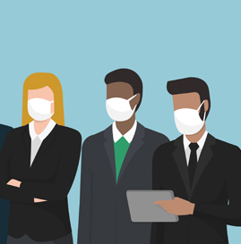Business people rocking masks.