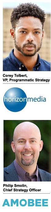 Corey Tolbert, VP of programmatic strategy at Horizon Media, and Philip Smolin, chief strategy officer at Amobee.