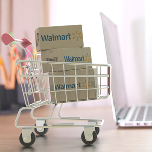 shopping cart with Walmart packages