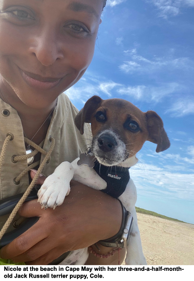 Fyllo's Nicole Cosby and her three-and-a-half-month-old Jack Russell terrier puppy, Cole.
