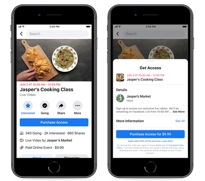 Facebook launched a new feature on Friday that will allow small businesses to promote, host and monetize live online events on its platform – and took aim at Apple in the process.