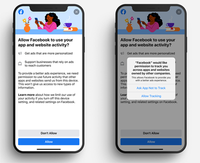 Facebook began testing a new in-app screen Monday that will appear before the opt-in prompt required in iOS 14 apps by Apple's upcoming AppTrackingTransparency policy.