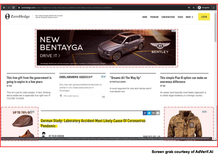 AdVerif.AI's algorithm found Bentley ads on far-right financial blog zerohedge.com served by both Google and Revcontent on a story about a laboratory accident being the most likely cause of the COVID-19 pandemic.