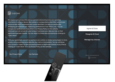 French CMP Didomi released an expanded version of its offering that supports consent compliance for connected TV, OTT and smart TVs.