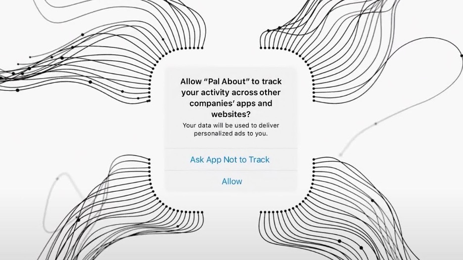 Screen grab from Apple's promotional video for the AppTrackingTransparency framework