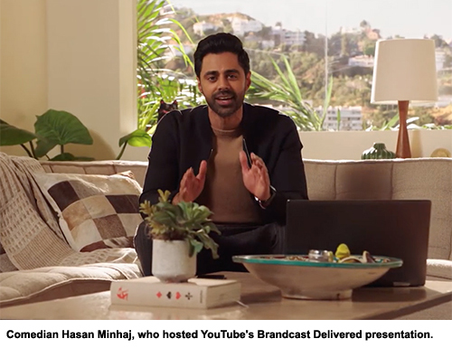 Comedian Hasan Minhaj, who hosted YouTube's Brandcast Delivered presentation.