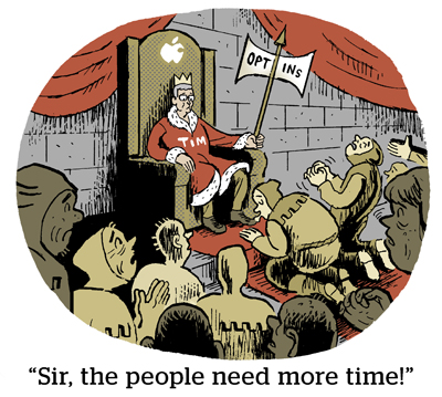 """Comic: """"Sir, the people need more time!"""""""