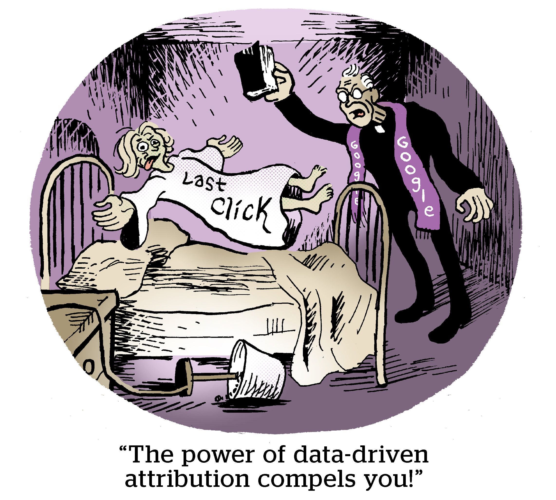 """Comic: """"The power of data-driven attribution compels you!"""""""