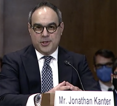 Jonathan Kanter, President Joe Biden's pick to lead the antitrust division of the Department of Justice, at his nomination hearing on Oct. 6, 2021.